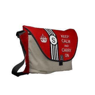 Red KEEP CALM AND CARRY ON Monogram Racing Stripe Messenger Bag