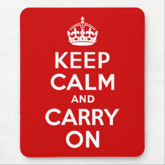 Red Keep Calm and Carry On Mouse Pads