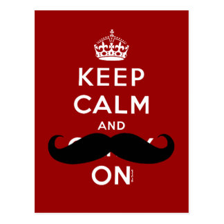 Red Keep Calm and Carry On Mustache Humor Postcard