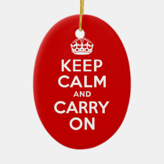 Red Keep Calm and Carry On Double-Sided Oval Ceramic Christmas Ornament