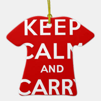 Red Keep Calm And Carry On Ceramic T-Shirt Decoration
