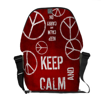 Red KEEP CALM AND CARRY ON Peace Sign Messenger Messenger Bag