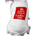 Red Keep Calm and Carry On Pet T Shirt