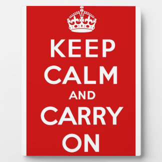 Red Keep Calm And Carry On Photo Plaques