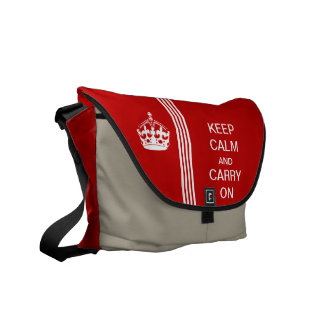 Red KEEP CALM AND CARRY ON Racing Stripe Commuter Bags