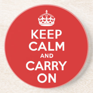 Red Keep Calm and Carry On Sandstone Coaster