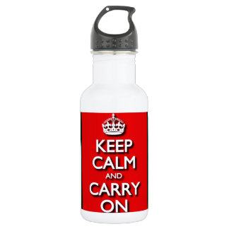Red Keep Calm And Carry On Stainless Steel Water Bottle
