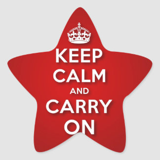 Red Keep Calm And Carry On Star Sticker