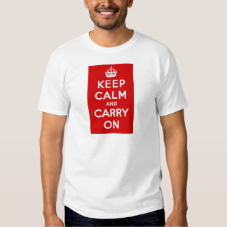 Red Keep Calm And Carry On T-shirt
