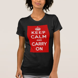 Red Keep Calm And Carry On T Shirt