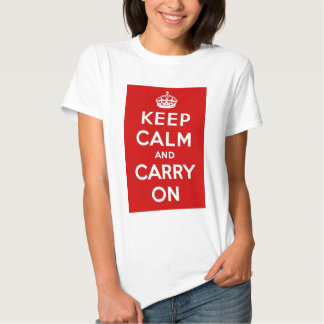 Red Keep Calm And Carry On Tee Shirt