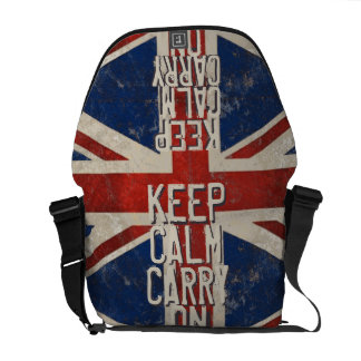 Red KEEP CALM AND Carry ON UK Flag Messenger Bags