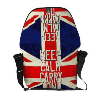 Red KEEP CALM AND Carry ON UK Flag Messenger Bag