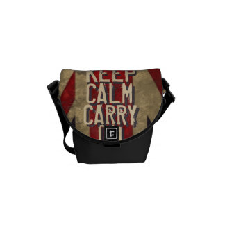 Red KEEP CALM AND Carry ON UK Flag Courier Bags