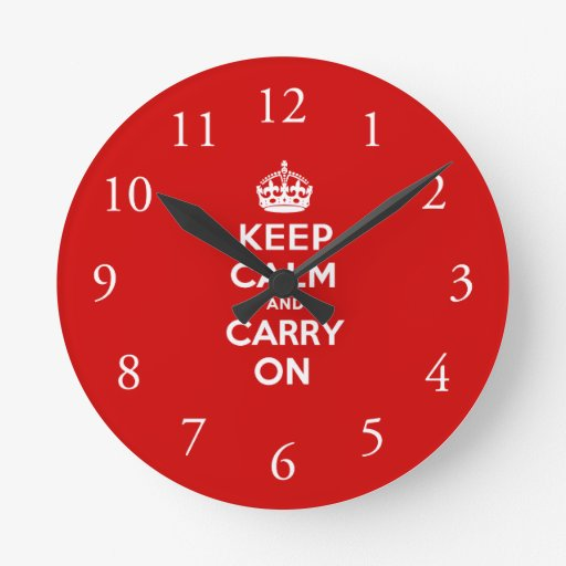 Red Keep Calm and Carry on Wall Clock