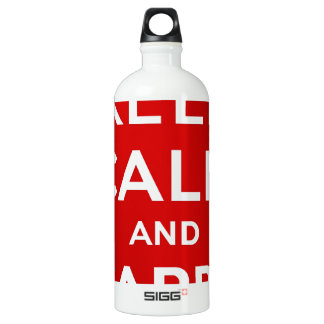 Red Keep Calm And Carry On Water Bottle