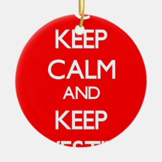 Red Keep Calm and Keep Investing Double-Sided Ceramic Round Christmas Ornament