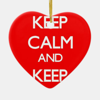 Red Keep Calm and Keep Investing Double-Sided Heart Ceramic Christmas Ornament