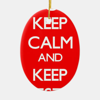 Red Keep Calm and Keep Investing Double-Sided Oval Ceramic Christmas Ornament