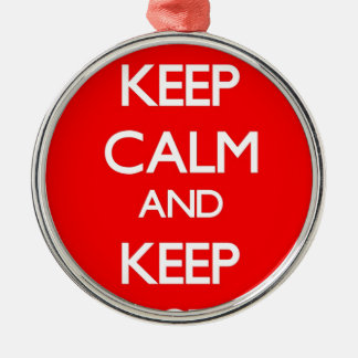 Red Keep Calm and Keep Investing Round Metal Christmas Ornament