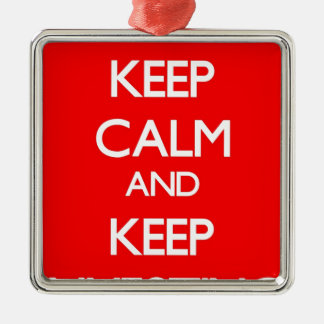 Red Keep Calm and Keep Investing Square Metal Christmas Ornament