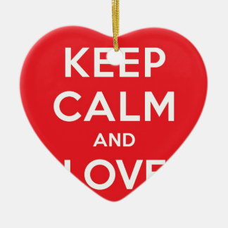 Red Keep Calm And Love On Double-Sided Heart Ceramic Christmas Ornament