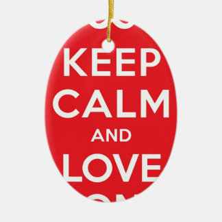 Red Keep Calm And Love On Double-Sided Oval Ceramic Christmas Ornament