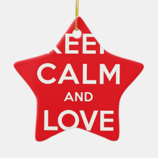 Red Keep Calm And Love On Double-Sided Star Ceramic Christmas Ornament
