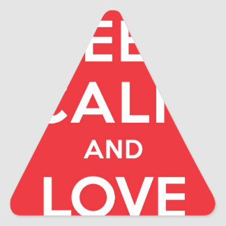 Red Keep Calm And Love On Triangle Sticker