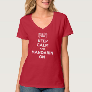 Red Keep Calm and Mandarin On Ladies V-neck T-Shirt
