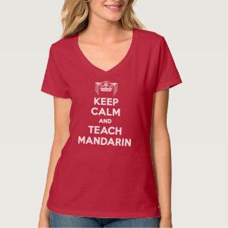 Red Keep Calm and Teach Mandarin Ladies V-neck T-Shirt