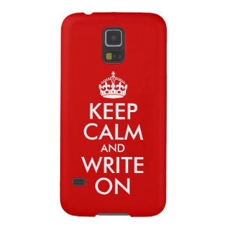 Red Keep Calm and Write On Case For Galaxy S5