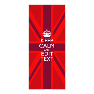 Red Keep Calm And Your Text on Union Jack Flag Card