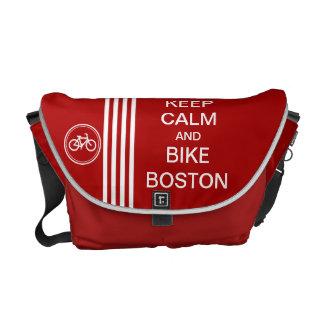 Red KEEP CALM BIKE BOSTON Racing Stripe Messenger Bag
