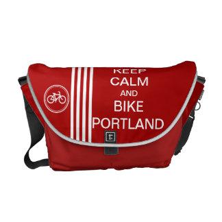 Red KEEP CALM BIKE PORTLAND Monogram Racing Stripe Messenger Bags