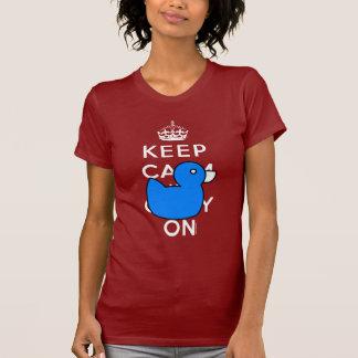 Red Keep Calm Blue Rubber Ducky Humor Shirt