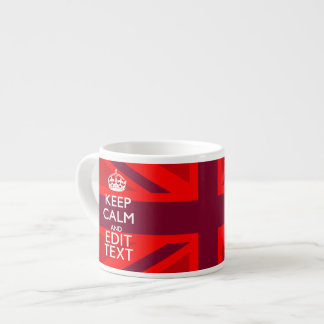 Red Keep Calm Have Your Text on Union Jack Flag Espresso Cup