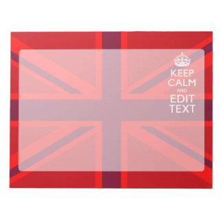 Red Keep Calm Have Your Text on Union Jack Flag Notepad