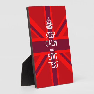 Red Keep Calm Have Your Text on Union Jack Flag Plaque