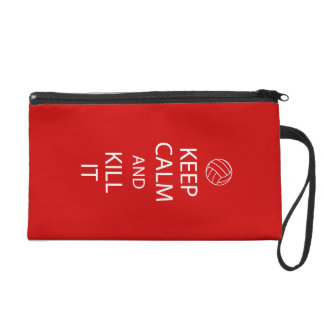 Red Keep Calm Volleyball Wristlet