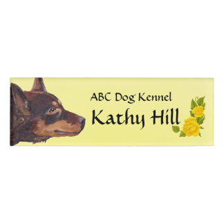 Red Kelpie & Yellow Roses Small Name Tag