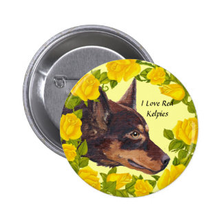 Red Kelpies and Yellow Roses Button