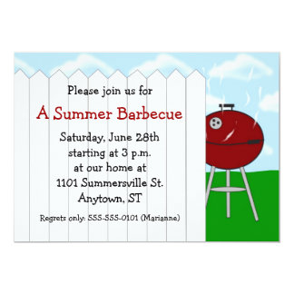 Red Kettle Grill and Picket Fence Party Invitation