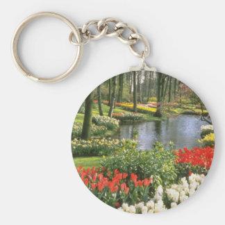 Red Keukenthof Gardens, Lisse, Holland flowers Keychain