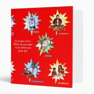 Red kids binder with Professionals as Cartoons