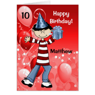 Red Kid's Birthday with Age for a Boy Card