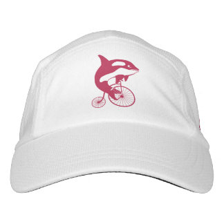 Red Killer Whale Rider on Penny Farthing Bike Hat