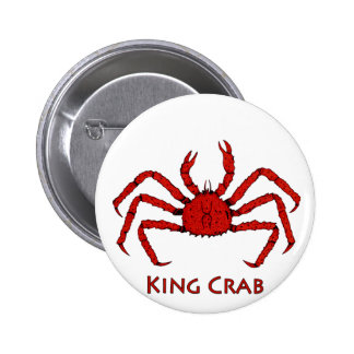 Red King Crab (color illustration) Pinback Button