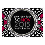 Red Kiss Cool Tribal Fun Black White Save the Date Business Cards