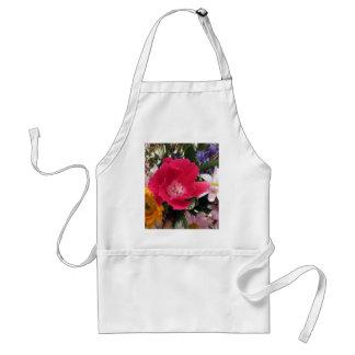 Red Kiss Flower Bouquet Floral Print Adult Apron